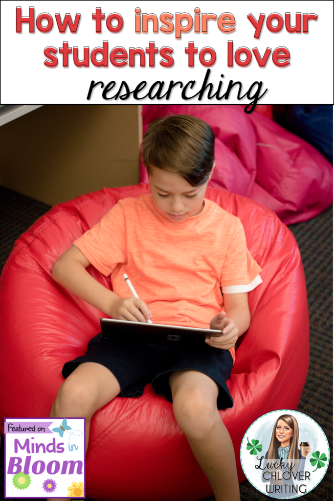 "This is a graphic showing a student sitting in a bean bag chair working on a tablet with the words, ""How to Inspire Your Students to Love Researching"" on it."